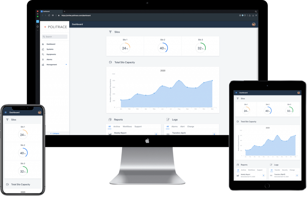 Silo and tank monitoring management responsive dashboard